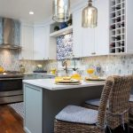 blue, white and yellow kitchen remodel - blue and white cabinets