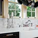 Historic Home in Old Mobile: Calcutta gold marble, main sink, dark cabinets
