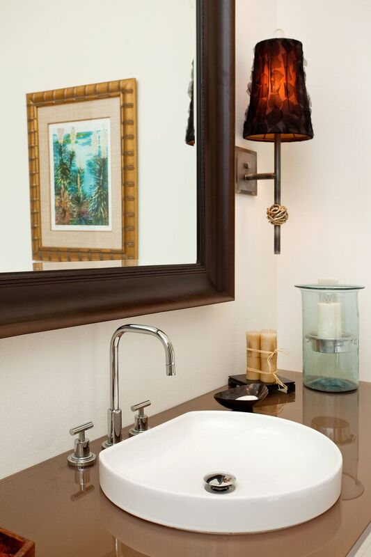 Guest Bathroom: Bayou New Construction: sink and mirror, neutral colors