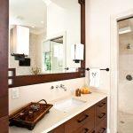 Master Bath, dark wood, storage space