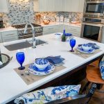 Kitchen remodel, two toned cabinets, kitchen island, gourmet kitchen, blue and white