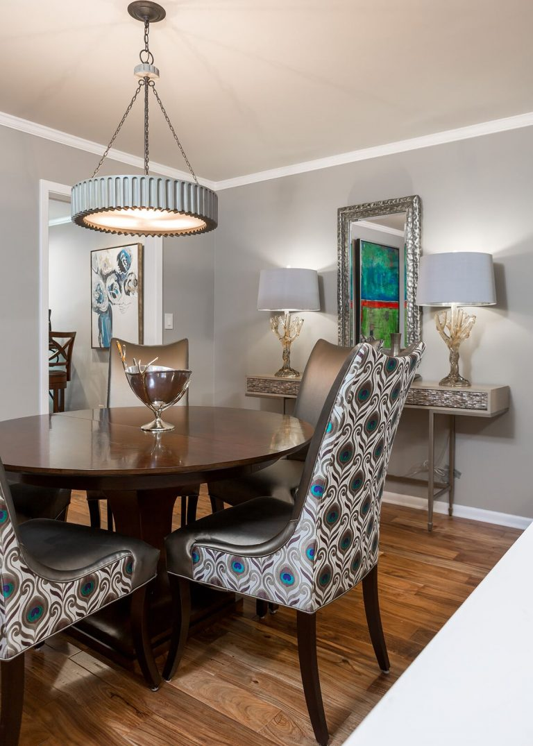 dining lighting and console