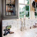 Historic Home in Old Mobile: Calcutta gold marble, dark cabinets