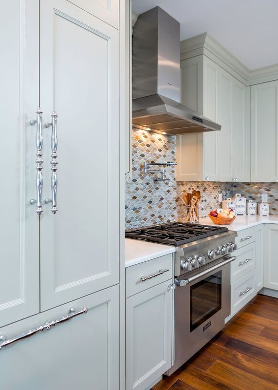 Kitchen remodel, two toned cabinets, gourmet kitchen, blue and white, tile back splash