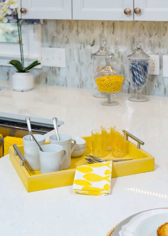 yellow home decor, white counter top, blue and white cottage kitchen