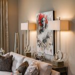 sofa, custom throw pillows, table lamps, artwork