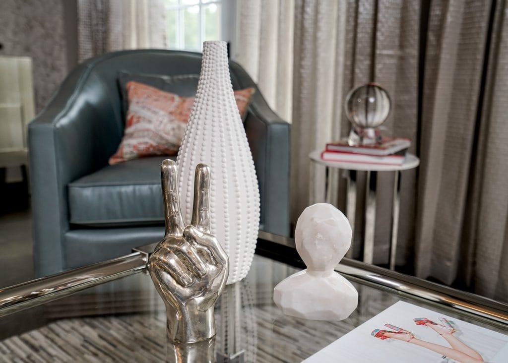 coffee table, leather swivel, sidetable, accessories, custom window treatments