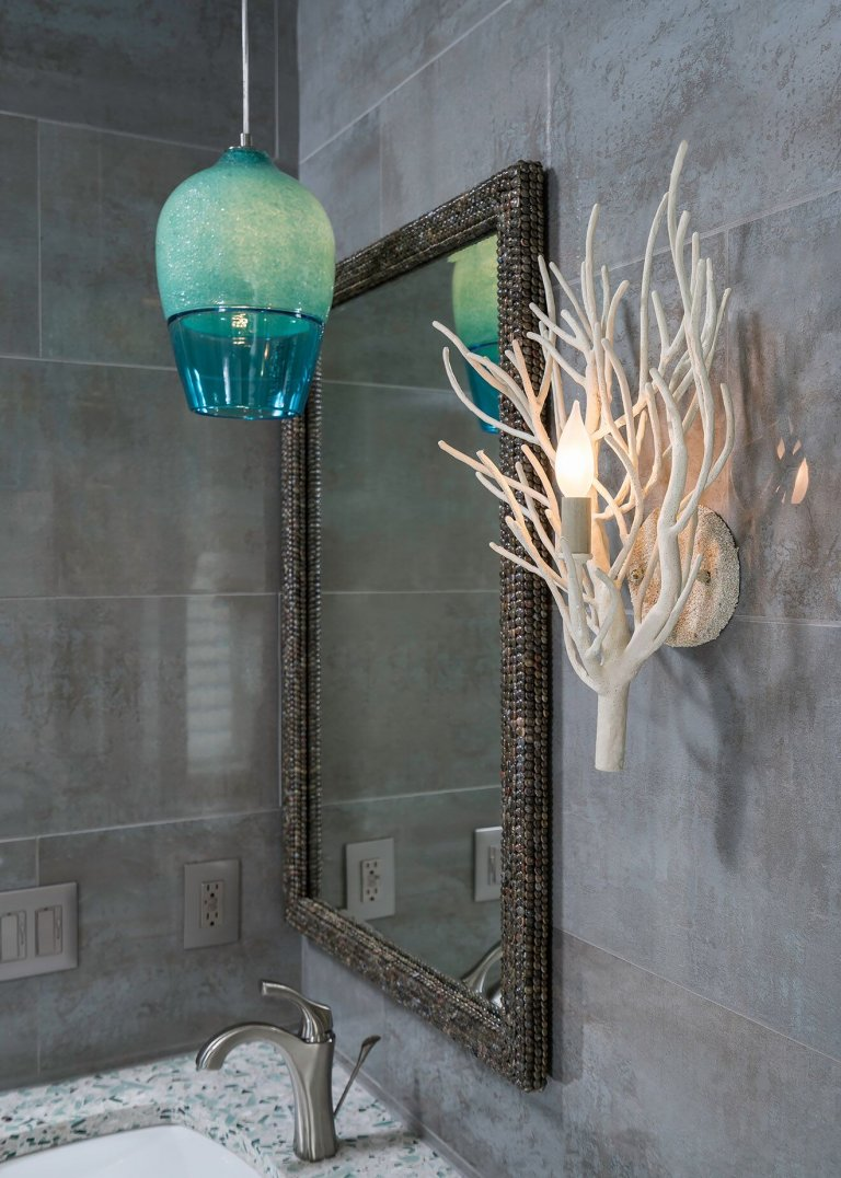 Coastal Home Decor - Blue Pendant with Coastal Wall Sconce and Mirror