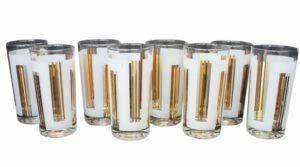 Gold & White set of 8 Collins Glasses