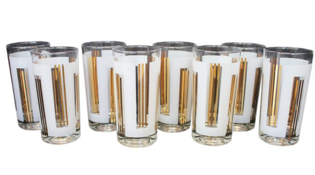 Gold & White set of 8 Collins Glasses