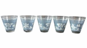 Vintage Blue White shot glass set