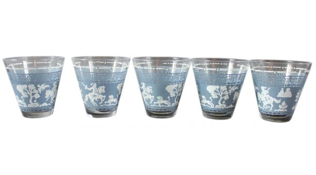 Vintage Blue White shot glass set