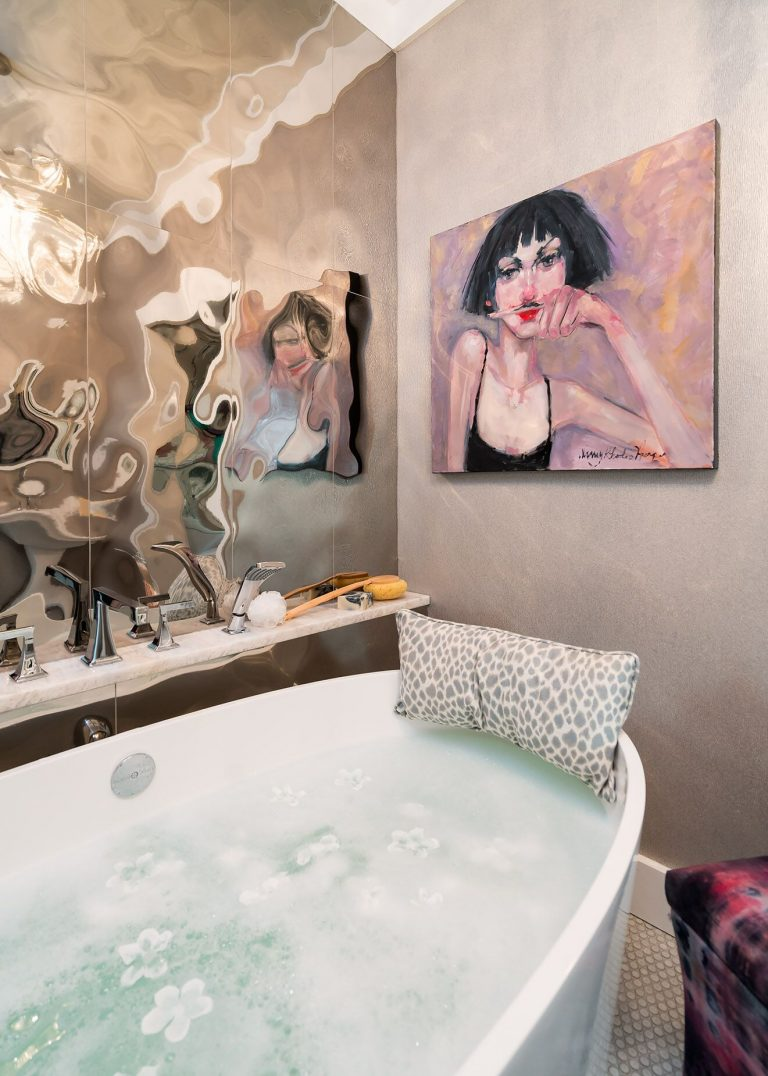 Glamorous Bathroom, mirrored walls original art Nancy Rhodes harper stand alone tub - Bathroom Remodel Pensacola Florida