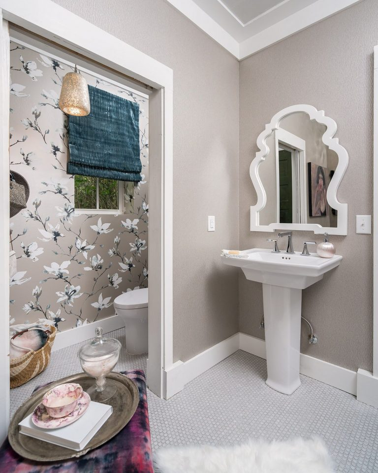 grey bathroom with floral wallpaper whitepedestal sink white penny tile flooring - Bathroom Remodel Pensacola Florida