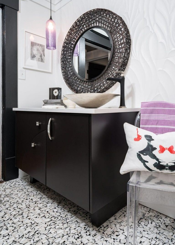 purple glass pendant, custom vanity, black mirror, black and white tile, white tile wall, original artwork Small Bath Remodel Pensacola Florida