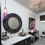 custom vanity, black mirror, black and white tile, white tile wall, original artwork Small Bath Remodel Pensacola Florida