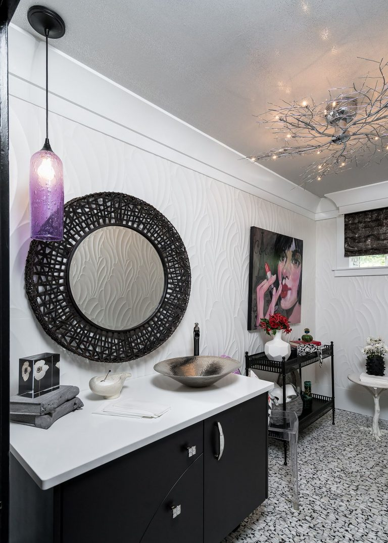 custom vanity, black mirror, black and white tile, white tile wall, original artwork Small Bath Remodel Pensacola Florida