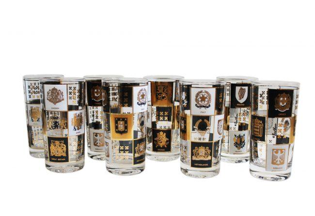 Black, gold & white highball glasses