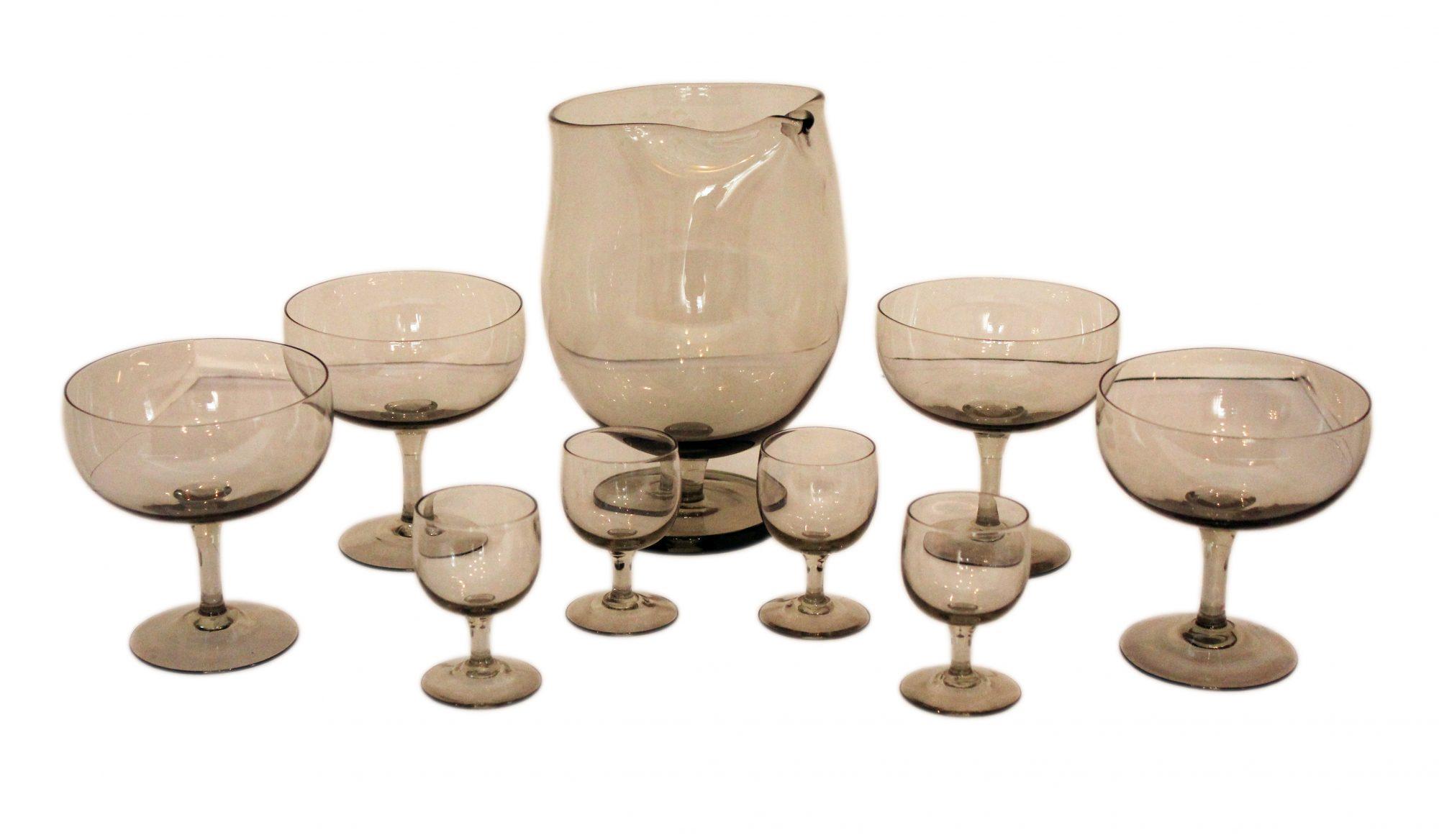 smoky grey pitcher & glasses