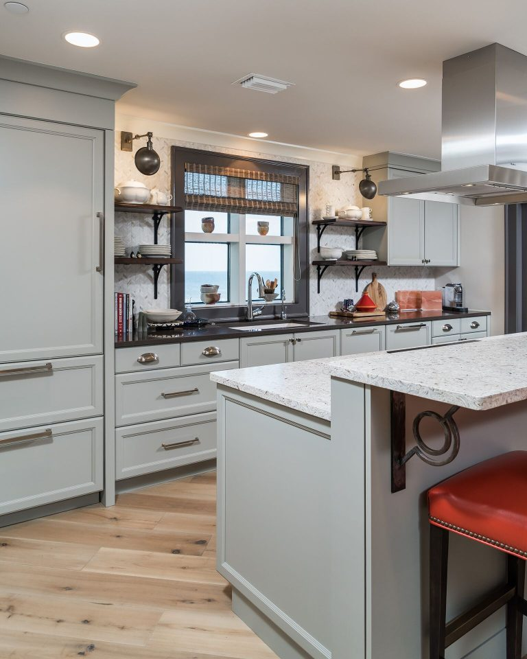 grey cabinets open shelving kitchen orange leather bar stools