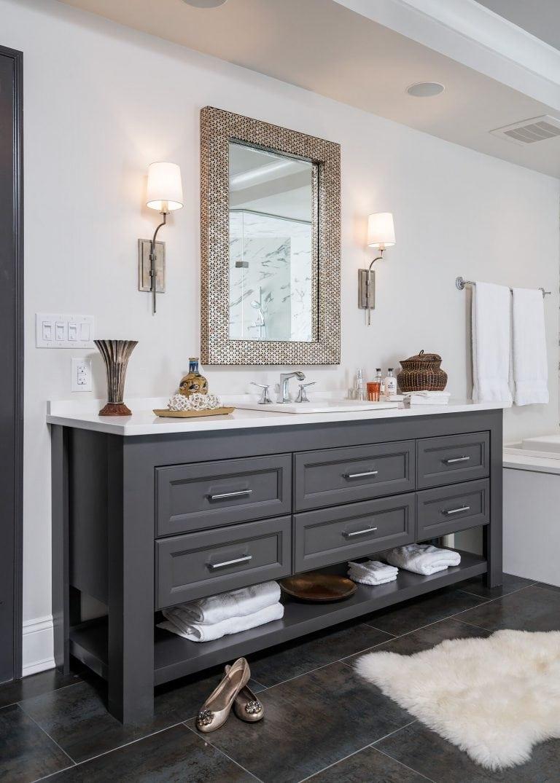 serene bathroom with faux fur rug grey bathroom cabinets silver frame mirro