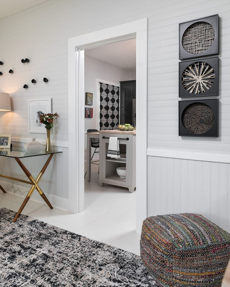 black and white cottage design white painted floor glass top desk