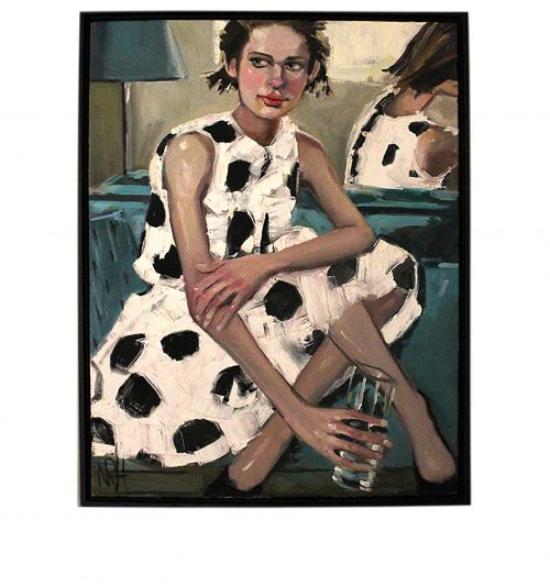 Artwork, original painting, woman on white dress with black spots original painting