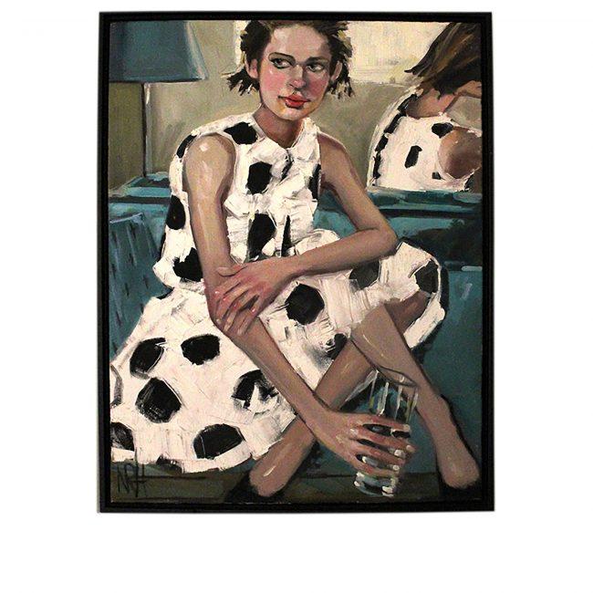 Artwork, original painting, woman on white dress with black spots original painting