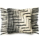 Black & Ivory Shag Pillow