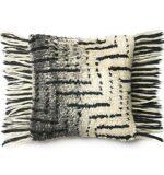 Black & Ivory Shag Pillow