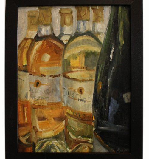 Artwork, original panting, bottles of white wine