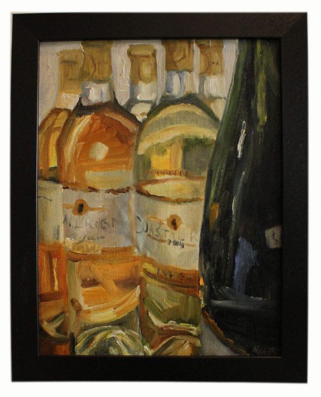 Artwork, original panting, bottles of white wine
