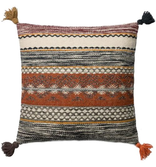 Rust multi colored tassel pillow
