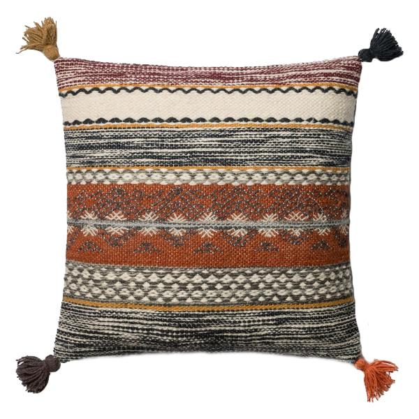 Rust multi colored tassel pillow
