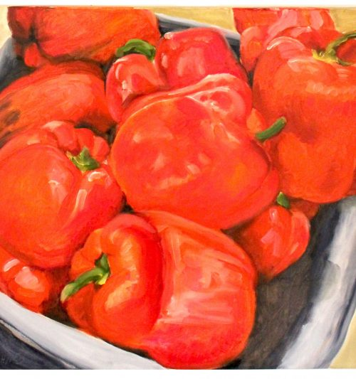 Original Painting ,Artwork, original art red bell peppers