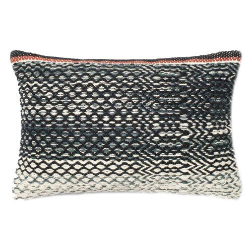 blue white & rust lumbar pillow
