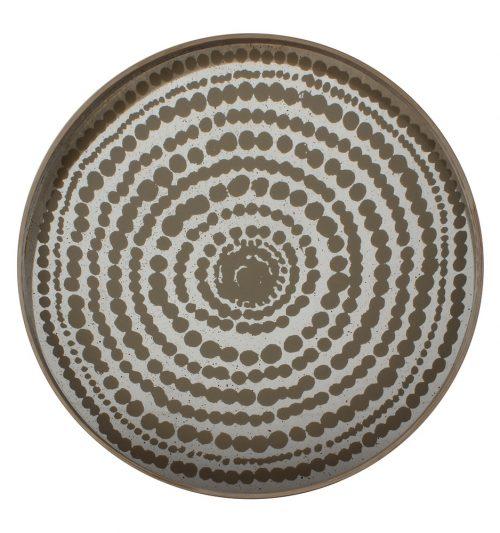 Tray - Gold Beads Mist Round Mirror notre monde