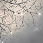 modern ceiling light on wallpapered ceiling, LED light pendant