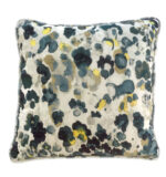 white blue & yellow velvet pillow