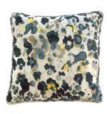 white blue & yellow velvet pillow