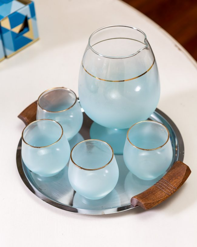 blue blendo vintage pitcher & glasses