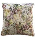 Watercolour print Pillow, purpled, yellow, greens