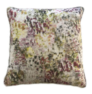 Watercolour print Pillow, purpled, yellow, greens