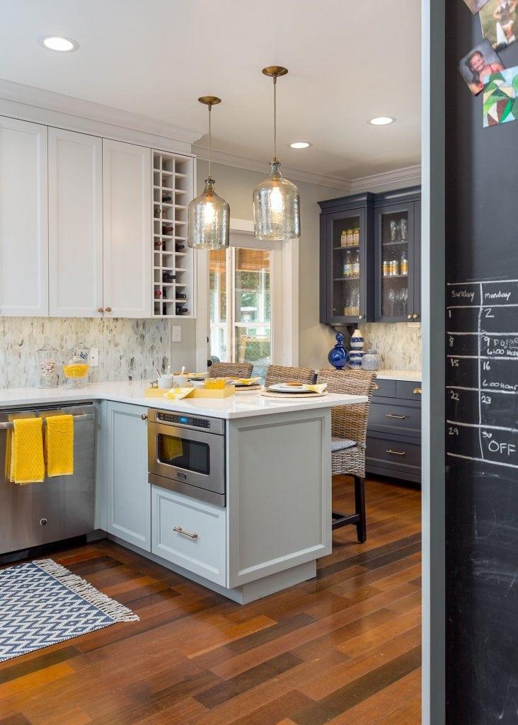 budget kitchen blue white