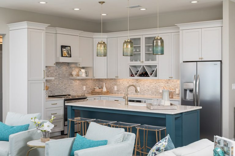 Neutral kitchen with blue accents - coastal kitchen design pensacola florida