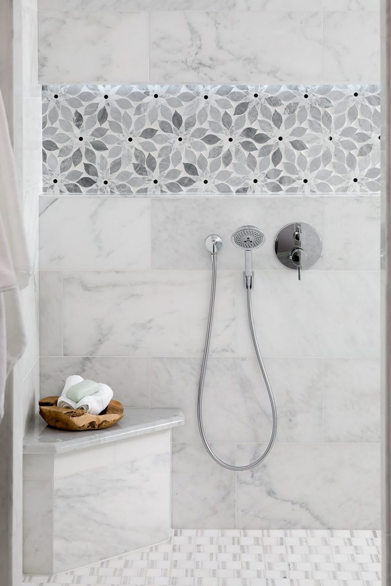 White and Grey tile for Walk In Shower in a Coastal Bathroom Remodel Pensacola Florida