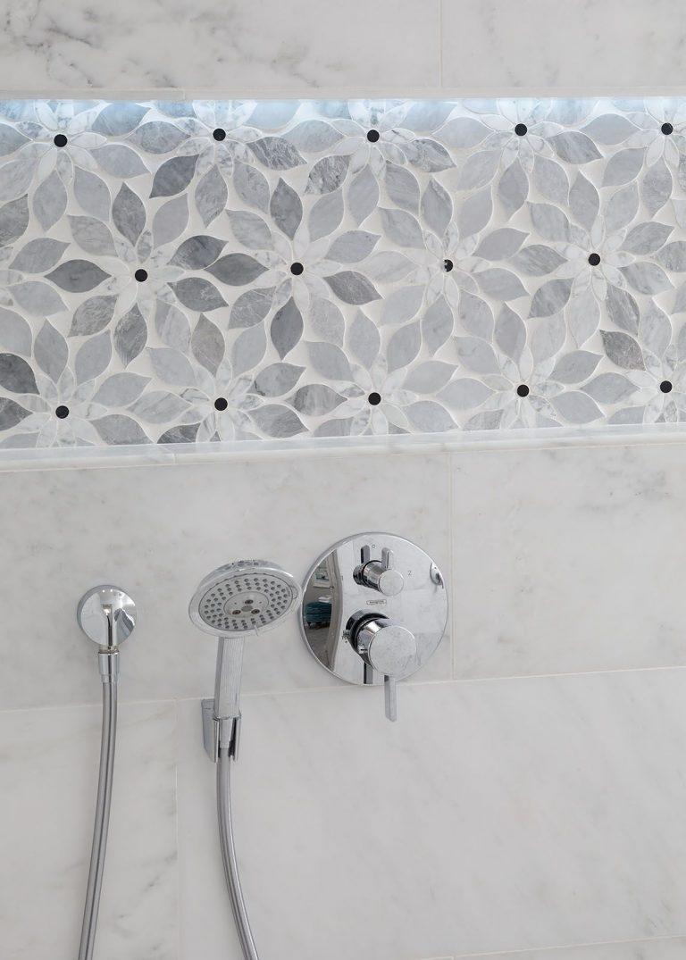 Shower Tile White and Grey with Polished Nickel Plumbing Hardware for Coastal Bath Remodel Pensacola Florida
