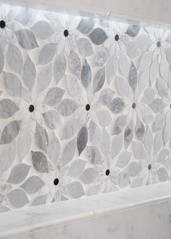 Grey and White Shower tile beautiful detail Coastal Bath Remodel Pensacola Florida