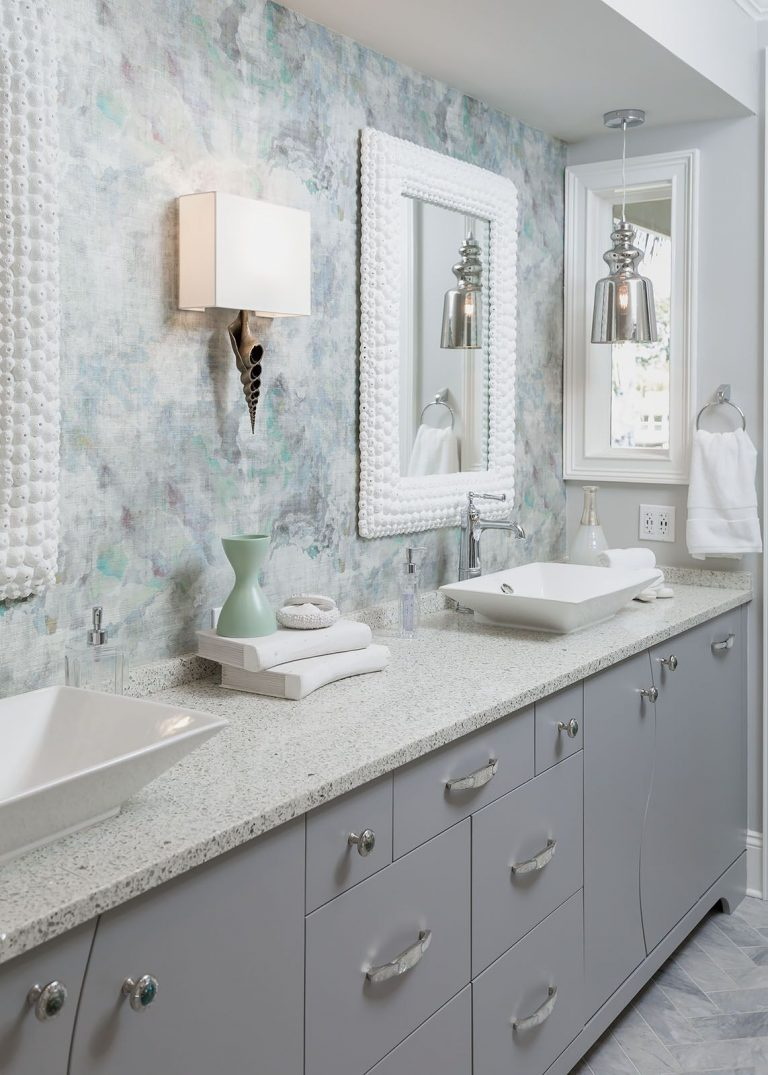 Glam his and her bathroom sinks with coastal home decor accents Coastal Bath Remodel Pensacola Florida