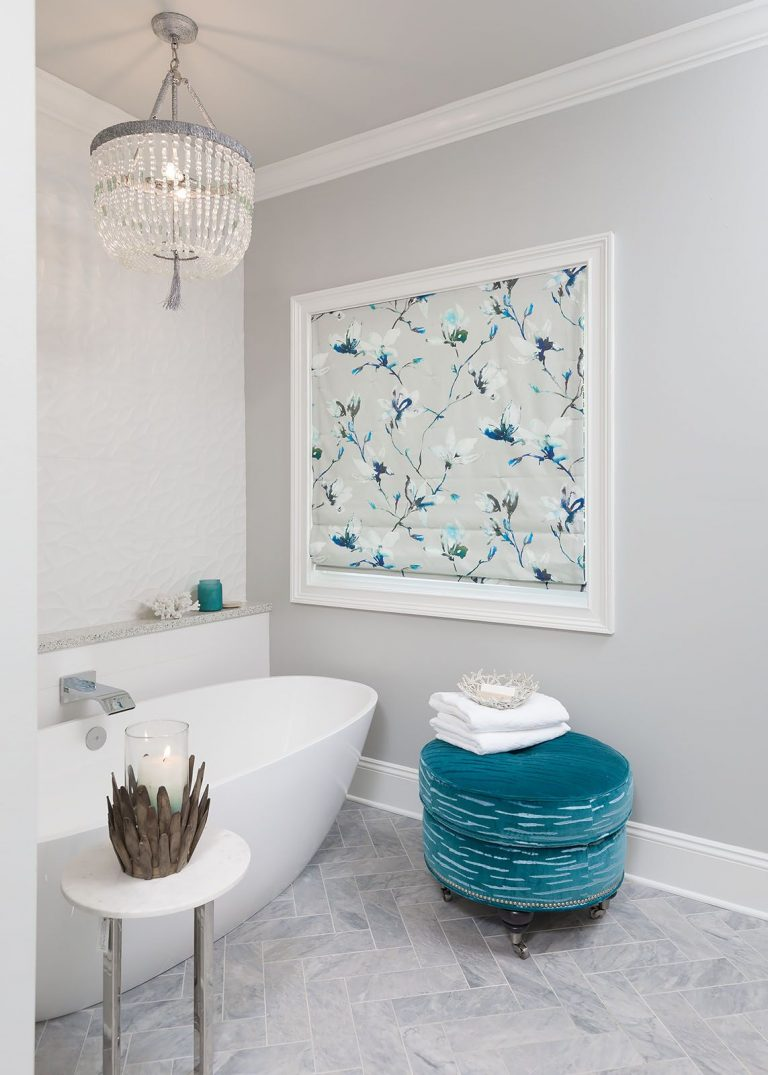 White Bathroom with blue accents Coastal Remodel Pensacola Florida